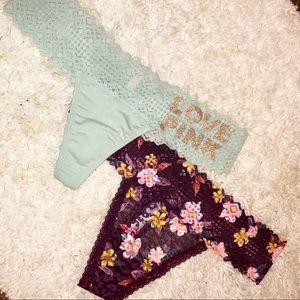 Victorias Secret PINK Bling Thong Panty Bundle S